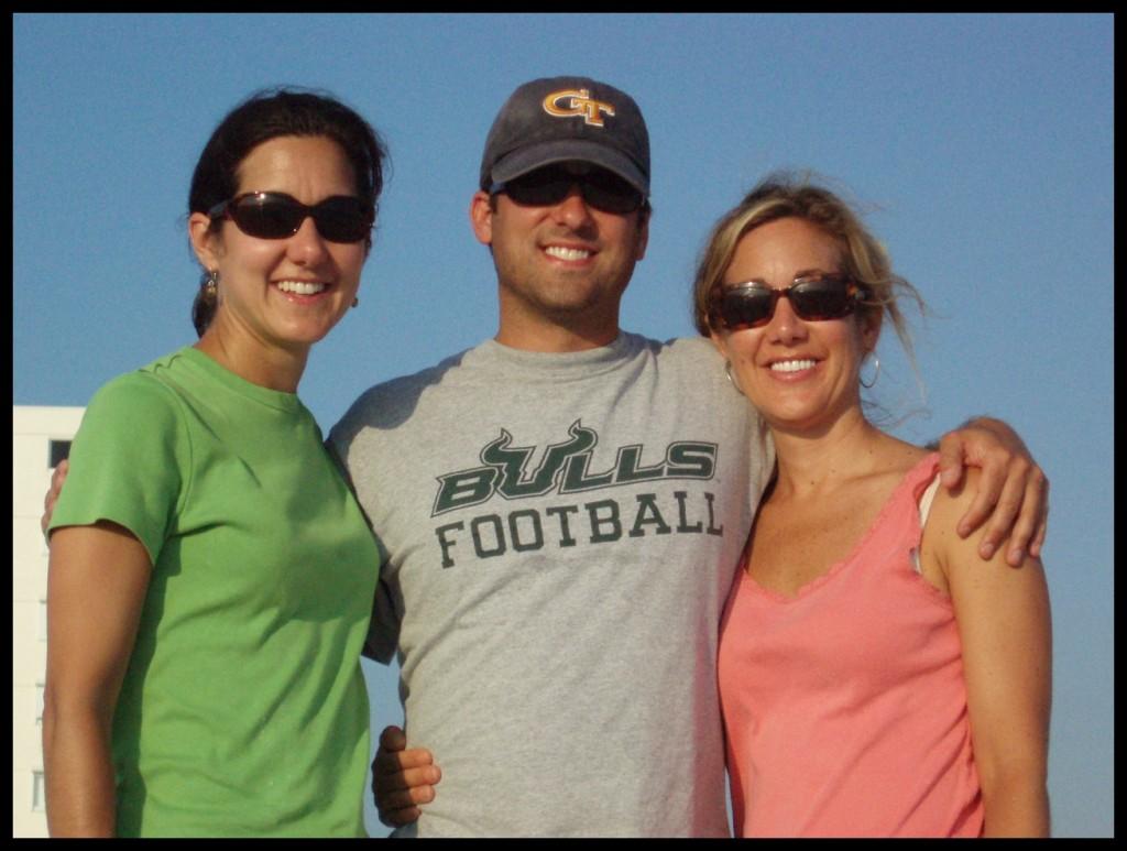 John Gunter with sisters at the beach