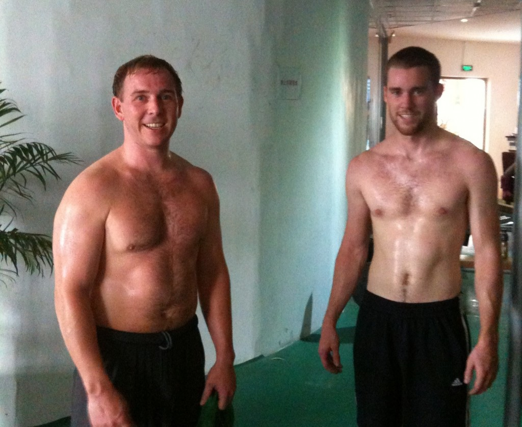 Chris and Hughes in the weight room