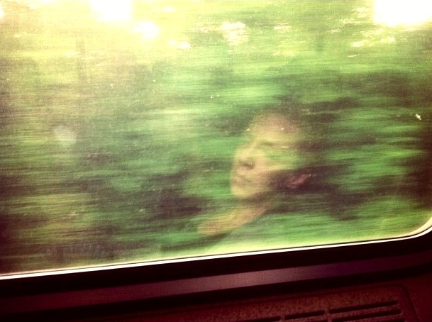 Tracey Clarke in a DC train.