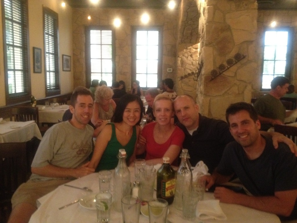 John Gunter, the Autrys,and the Clarks at dinner
