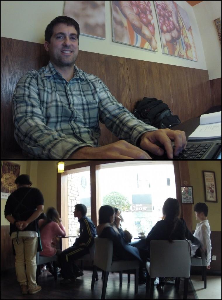 John Gunter writing his blog