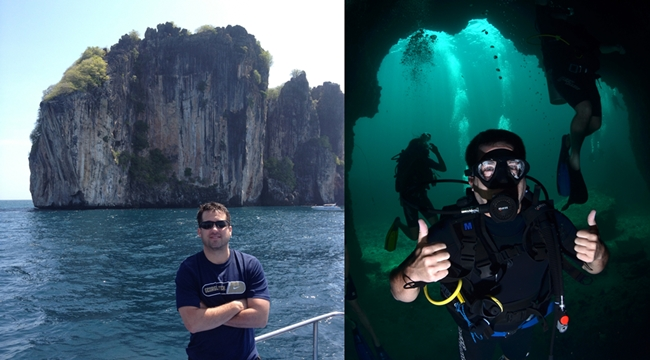 One of the dives, both in the boat and inside of a cave about 40 feet under water
