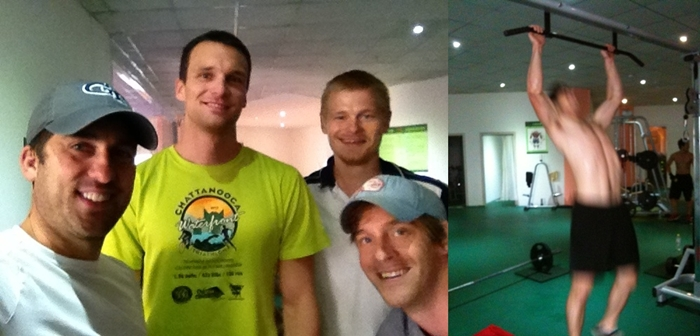 Michael, Alex, Tyler, and I in our gym. . .the guy on the right is Alex's brother.