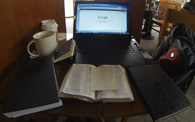 Tools of the trade for writing and emailing. . . at a local Starbucks
