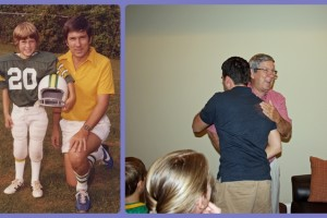 (L) One of my favorite pics of Dad and I; (R) Dad and I when I surprised him with a visit for his birthday 2 years ago