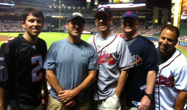 My friends Troy Coons, Phil Autry, Julian Krevere, and I at a Braves game two years ago