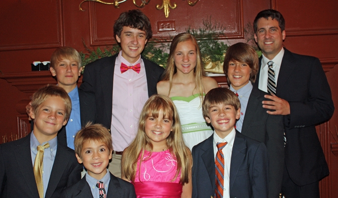 "All eight at Mom and Dad's 50th Anniversary Party last summer; (L to R) Cole Chapman, Will Chapman, Nate Chapman, Stephen Bracher, Anna ""Annie"" Bracher, Kathryn Bracher, John Robert Bracher, Timothy Chapman, and me."