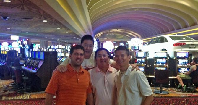 (left to right) John Gunter, Patrick Ku, Eugene Kim, and Eric Tai in Las Vegas three nights ago.
