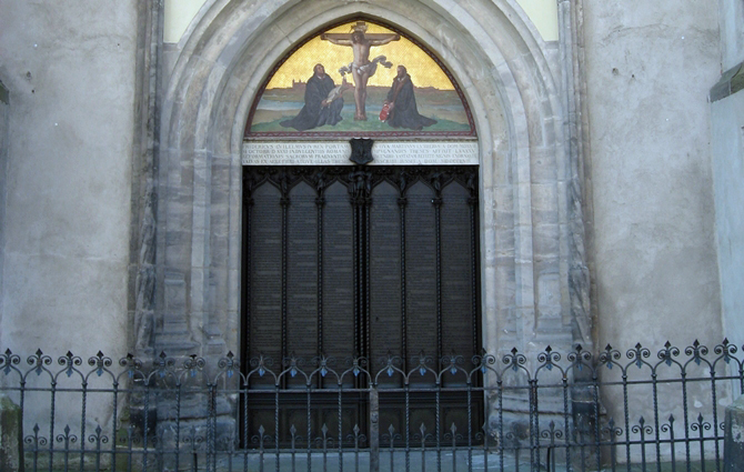 The door where Martin Luther tacked the 95 Theses on October 31, 1517 (taken when I studied there in 2006)