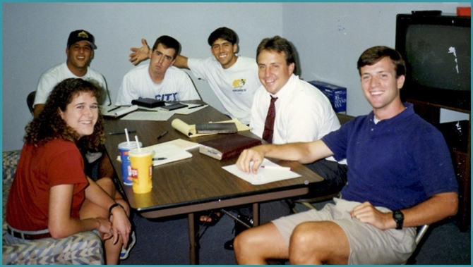 L to R: Zan Ianerina, Julian Krevere, Phil Autry, Troy Coons, Howie Espensheid,and Philip Clarke at a BIble study a few months prior to Phil Clarke's passing.