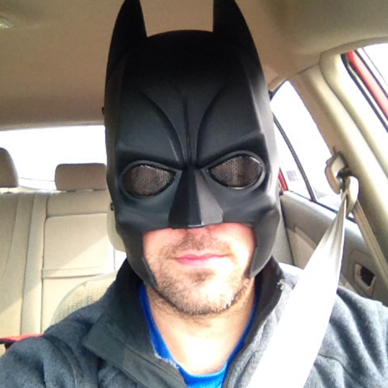 John Gunter with his new Batman mask fighting East Asian road rage