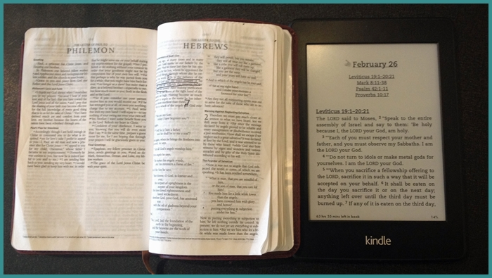The Bible on paper and Kindle