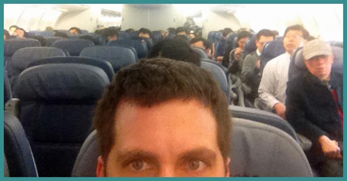 John Gunter on a Delta flight to Asia this week.