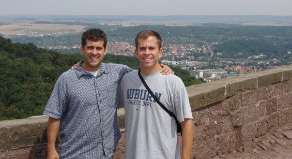 Daniel Mason and John Gunter at the Wartburg Castle in Germany