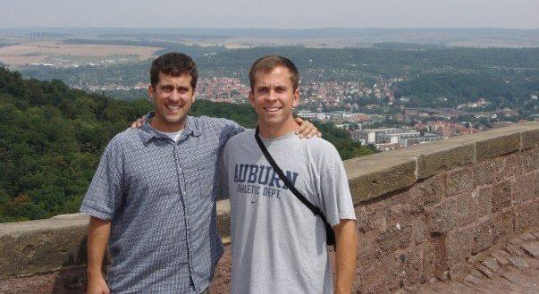 Daniel Mason and John Gunter at the Wartburg Castle in Germany